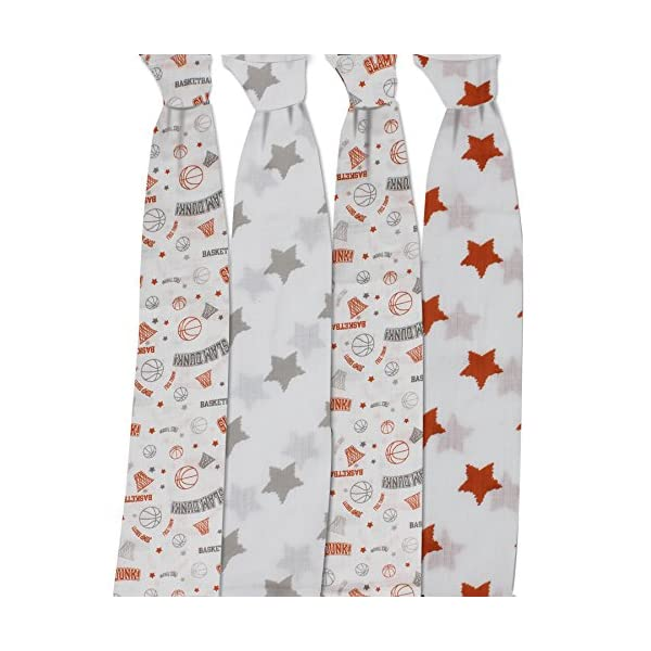 Basketball Orange/Grey Muslin Swaddling Blankets Set of 4