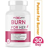 Burn for Her Weight Loss Supplement for Women by Foxy Fit - Fat Burner with White Willow Bark, Theacrine, and Green Coffee Extract (60 Capsules)