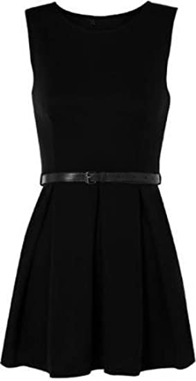 Funky Fashion New Ladies Sleeveless Belted Flared Franki Party Skater Dress  Top 8-26  Amazon.co.uk  Clothing c562f997d