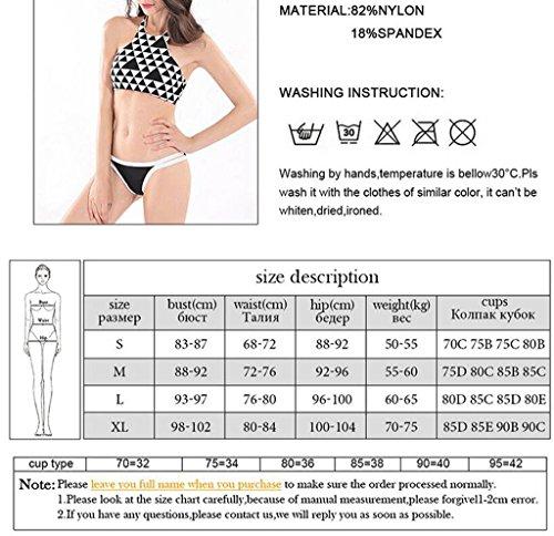 Traje de baño de las señoras Moda negro y blanco rejilla colgando cuello correas bikini traje de baño partido Bikini Azul