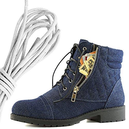 Dailyshoes Donna Militare Allacciatura Fibbia Stivali Da Combattimento Alla Caviglia Alta Tasca Esclusiva Per Carte Di Credito, Denim Blu Avorio