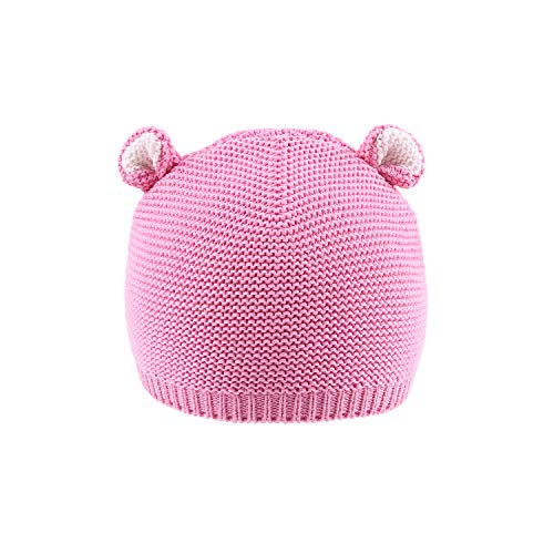 LLmoway Baby Warm Knit Hat Infant Kid Cotton Beanies for Girls Crochet Skull Cap, Pink, 1-Ply, - Crochet Girl Beanie