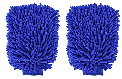 APG Car Wash Mitt Premium Chenille Wash Glove Extra Large Blue Cleaning Glove 2 Packs - Scratch & Lint Free