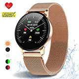 HuaWise Smartwatch with All-Day Heart Rate Monitor and Activity Tracking,Sleep Monitoring,Bluetooth Waterproof Smart Watch,Step Counter Pedometer and Calorie Counter for Android and iOS (Gold)
