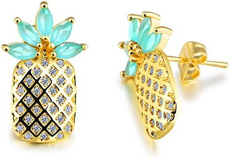Sparkly Fruit Pineapple Cubic Zirconia Stud Earrings For Women Girls Fashion Summer Jewelry Gold Tone