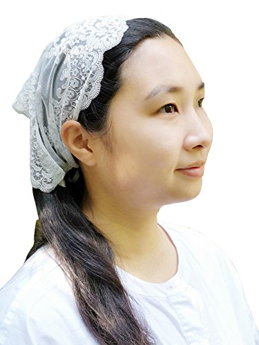 Lace Head Covering Church Veil Headwrap Ivory Tie-style Kercheif Y036 by Sevenflowers