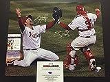Autographed/Signed Brad Lidge & Carlos Ruiz Dual 2008 World Series Philadelphia Phillies 16x20 Baseball Photo JSA COA
