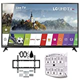 LG 55UJ6300 55-inch 4K Ultra HD Smart LED TV (2017 Model) w/Wall Mount Bundle Includes, Slim Flat Wall Mount Ultimate Bundle Kit & SurgePro 6-Outlet Surge Adapter w/Night Light