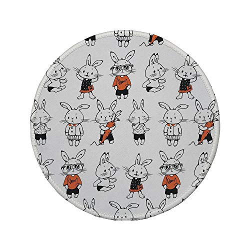 (Non-Slip Rubber Round Mouse Pad,Funny,Cute Retro Bunny Rabbits with Costumes Jack Hare Funky Bunnies Carrot Sketch Style,Orange White,11.8