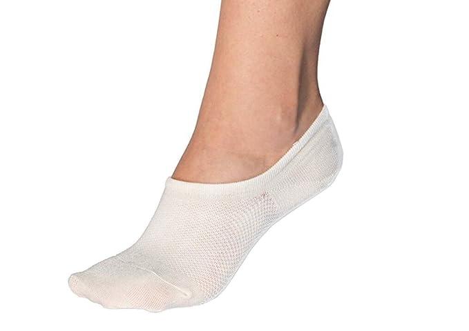 H&J Calcetines Mujer Invisibles,bajo Cortos Elástco Con Silicona Antideslizante,12 Pares (Blanco