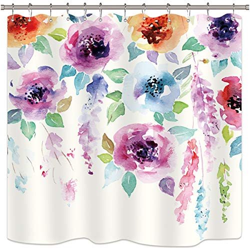 Riyidecor Watercolor Flower Shower Curtain Set Abstract Modern Blooming Floral Leaves Art Print Multicolor Girl Woman Waterproof Fabric Bathroom Home Decor 72x72 Inch 12 Shower Plastic Hooks ()
