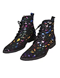 US Size 5-12 Fashion Black Rainbow Lace Up Leather Mens Dress Ankle Boots Shoes