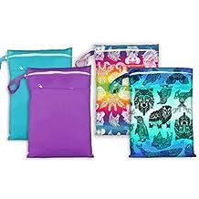 1 Safari (Rainbow Animal Print) Easy Peasies Cloth Diaper Wet Bag Reusable Swim Wear Dry Double Pocket