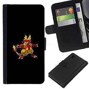 KLONGSHOP // Tirón de la caja Cartera de cuero con ranuras para tarjetas - P0kemon Char - Sony Xperia Z1 L39 //