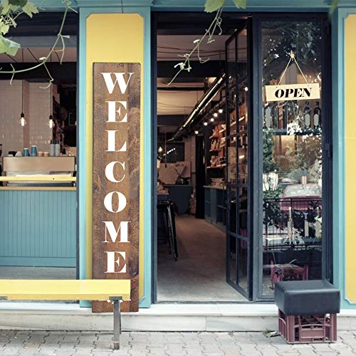 Koogel 21PCS Welcome Stencils, Welcome Open Closed Signs Templates for Painting on Store Shop House Front Door Porch Outside Home Decor