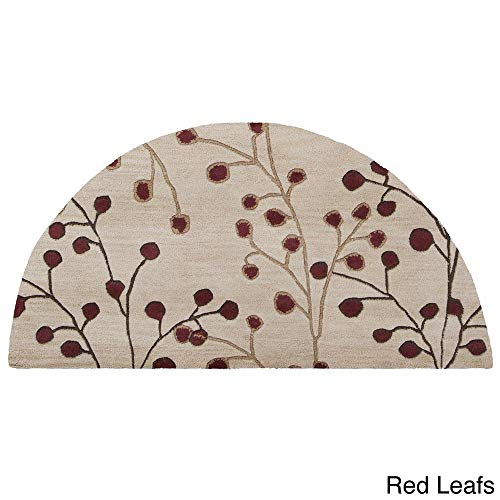 - Tree Bud Hearth Rug Half Moon Circle Mat, Beige Red Burgundy Floral Design Semicircle Rug, Leaf Flower Themed Fireplace Rug Chimney Mat Semi Circle Fire Place Kitchen Entryway 2' x 4', Wool