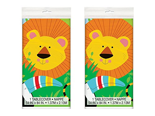 - Set of 2 Unique Industries Plastic Animal Safari Tablecloth, 84