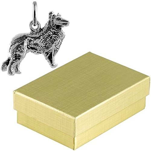Collie Gift Box (Sterling Silver Collie Dog Charm Animal Jewelry in Gift Box)