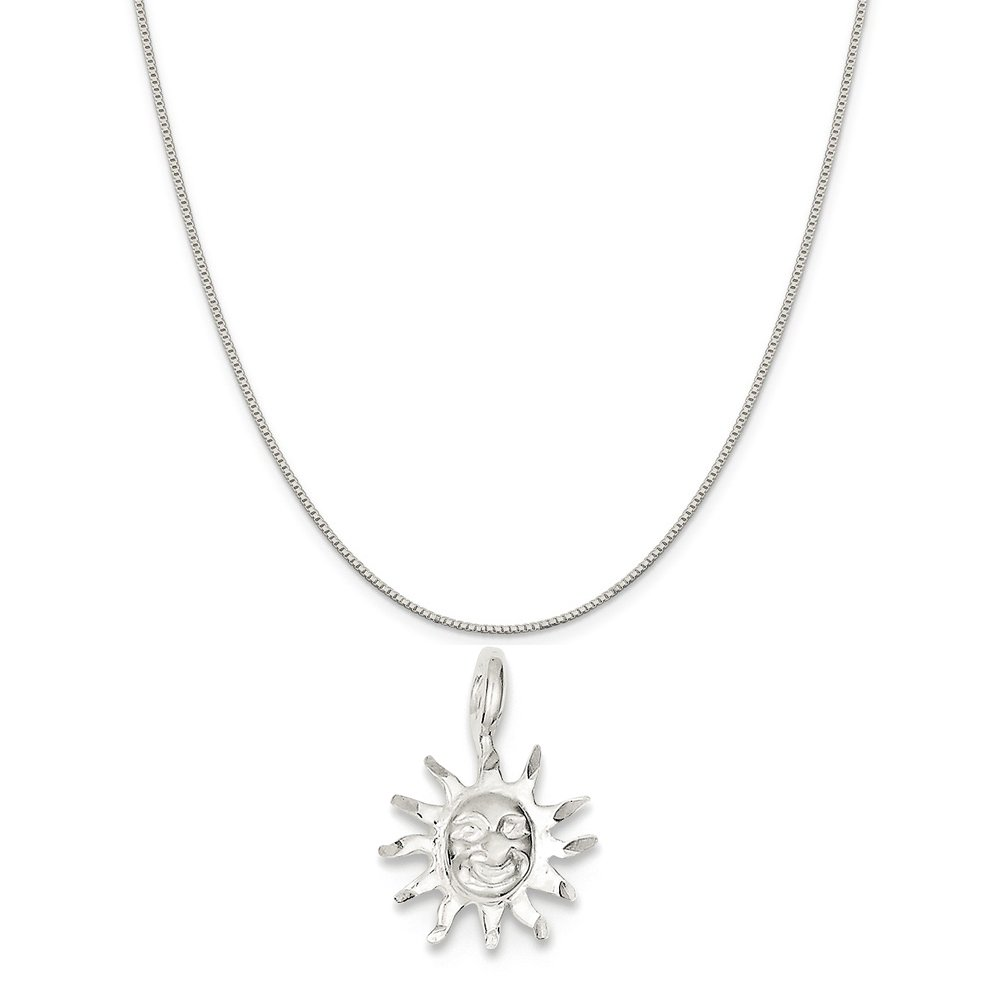 16-20 Mireval Sterling Silver Sun Charm on a Sterling Silver Chain Necklace