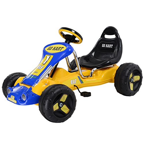 JAXPETY Go Kart Kids Ride 4 Wheel on Car Stealth Pedal Powered Outdoor Racer New Yellow