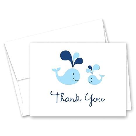 Amazon 50 Cnt Blue Whale Splash Boy Baby Shower Thank You Cards