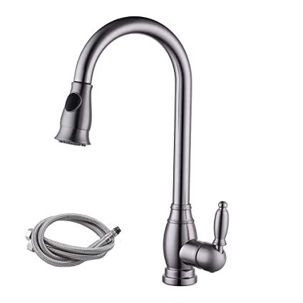 Kes Brass Bar Sink Faucet Brushed Nickel With Pull Down Sprayer Head Modern Single Tall Large Commercial Pullout Kitchen Faucet Sprayer Pulldown High