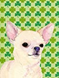 Caroline's Treasures SS4403CHF Chihuahua St. Patrick's Day Shamrock Portrait Flag Canvas, Large, Multicolor For Sale