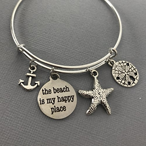 The Beach is my Happy Place Bracelet - Summer Jewelry - Beach Jewelry - Beach Bracelet - Ocean Jewelry - Summer Bracelet - Nautical Jewelry - Mothers Day - Gift For Her - Bangle -