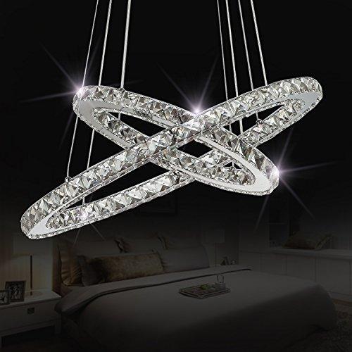 Cheap Sefinn Four Crystal Chandeliers Modern LED Ceiling Flush Mount Pendant Lights, White 15.8″ and 23.6″ Oval, 2 Rings