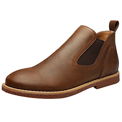 Jamron Men's Fashion Flat Chelsea Boots Casual Comfort Lightweight Ankle Boots Brown gmDfYd5OZ