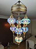 (Customizable Globes) DEMMEX 2019 Hard-Wired or PLUGIN 1,3,5,7,9 Globes Chandelier Lights Turkish Moroccan Mosaic Ceiling Hanging Pendant Chandelier Light Lighting (7 Globes Hardwired) Review