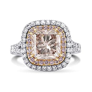 4.09Cts Pink Diamond Engagement Halo Ring Argyle Set in 18K White Rose Gold GIA Size 6
