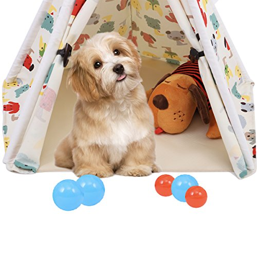 60%OFF SpringBuds Pet Teepee Dog(Puppy) & Cat Bed - Portable Pet Tents & Houses for Dog(Puppy) & Cat Indian Tents Wood Canvas Tipi