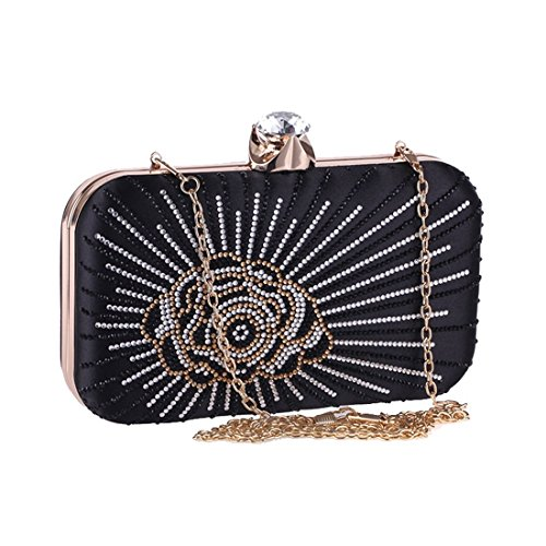 Weedding Color Hard Party KERVINFENDRIYUN Square Dress Purse Bag Bag Evening Small Ladies Box Black Bag Champagne Clutch Women's OZUq7