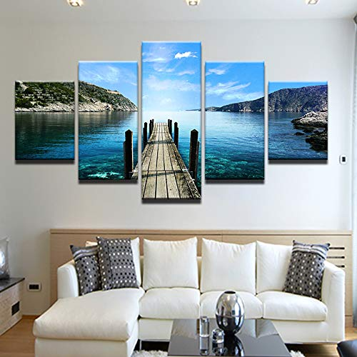 40x60 40x80 40x100cm No Frame Canvas Painting Wall Art Pictures 5 Panel The Landscape Wooden Bridge Home Decor Living Room Modular HD Printed Poster