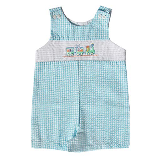 Good Lad Newborn/Infant Boys Blue Seersucker Smocked Shortall with Bunny and Train Embroideries (6/9M) ()