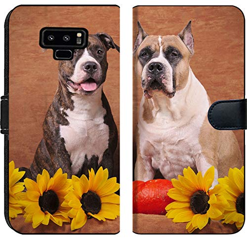 - Samsung Galaxy Note 9 Flip Fabric Wallet Case Brindle and Fawn American Staffordshire Terriers with Sunflowers and Pumpkin on The bro