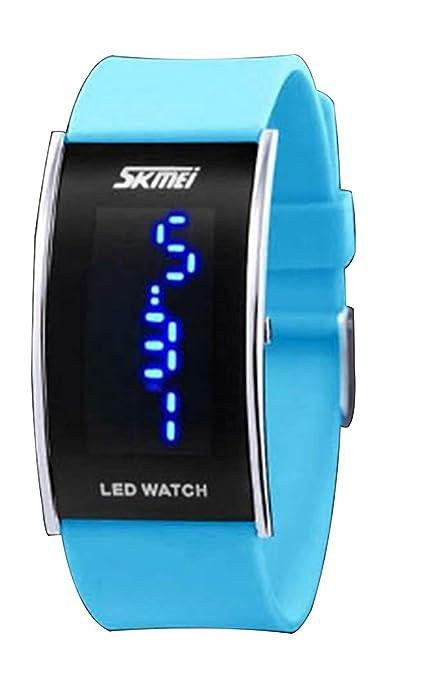 HUAIX Home Reloj Azul Celeste de Niza Led Reloj Deportivo de Silicona Digital para niños,