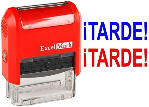 TARDE! - ExcelMark Self-Inking Two-Color Rubber Spanish Teacher Stamp - Perfect for Grading Homework - Red and Blue Ink