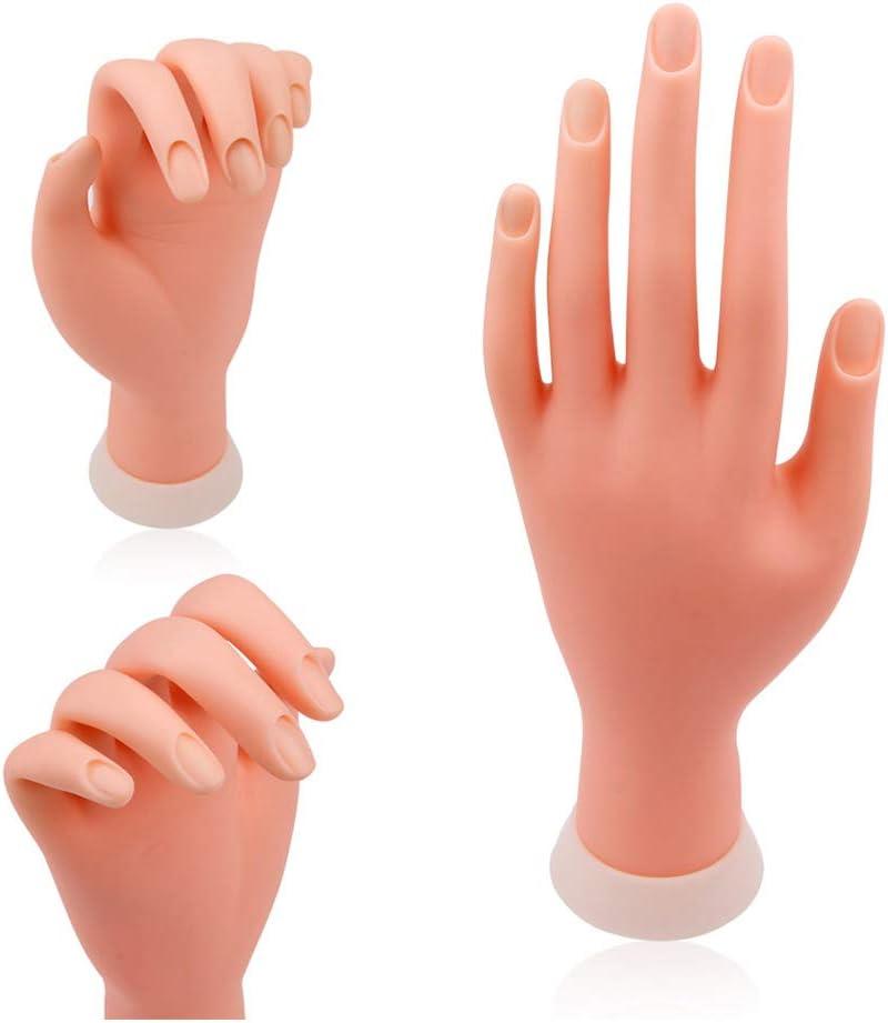 WANGLAI Mano de entrenamiento de uñas, modelo de aprendizaje de práctica flexible, práctica de manicura manos artificiales