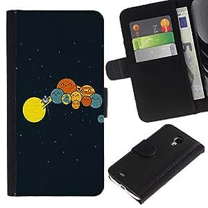 iKiki Tech / Cartera Funda Carcasa - Solar System Art Drawing Kids Planets Lineup - Samsung Galaxy S4 Mini i9190 MINI VERSION!