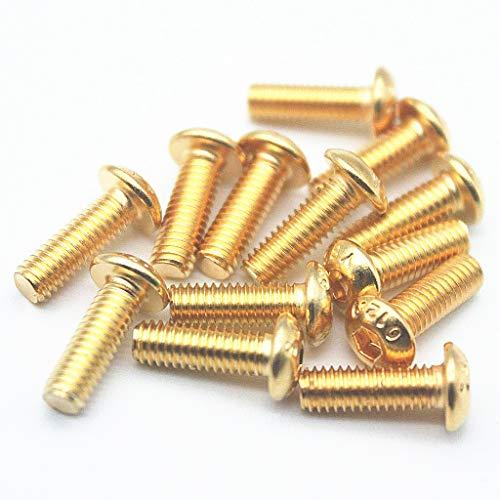 50PCS M3 12.9 Screws Allen Screw Hex Socket Button Head Cap Screws Hexagon Bolts Gold (12mm)