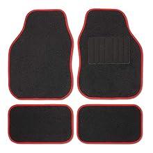 Safe Travel 27552 Alfombrillas universales para vehículos con volante a la derecha, Almohadilla para los pies con costura, Costuras en Color Rojo