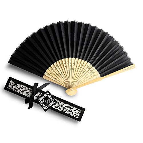 Doris Home 50pcs Black Silk Bamboo Handheld Folded Fan wedding favor fan with laser cut gift box for Bridal Gift Party Favors (With customize names),FAN01-50BNAME