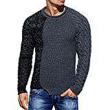 Nanquan Men Hip Hop Long Sleeve Crewneck Color Block Pullover Knit Sweater Grey US L