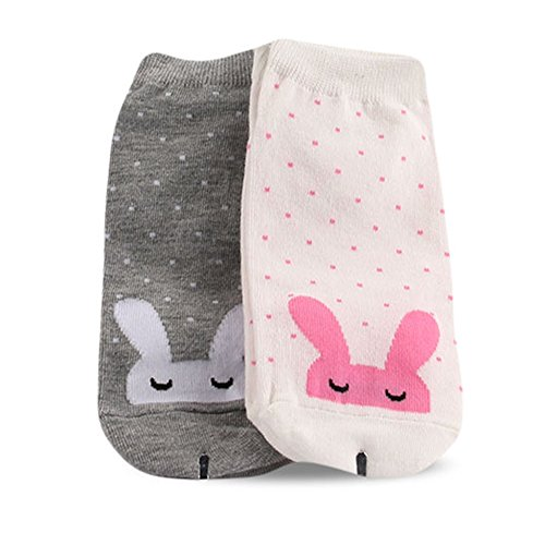 Women's Sleeping Rabbit Character Fashion Anklet Socks of Free Size(US6~8) Gray