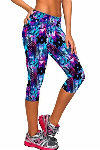 Ancia Womens Tartan Active Workout Capri Leggings Fitted Stretch Tights Medium Blue