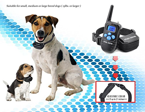 Mockins 100% Rainproof Rechargeable Electronic Remote Dog Training Shock Collar Beep Vibration - E-Collar 330 Yards (990 ft) Distance … … … … … … by Mockins (Image #5)