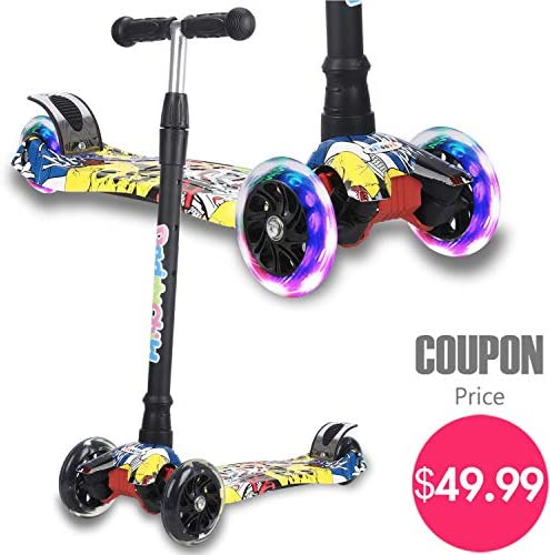 Kick Scooter for Kids, 4 Adjustable Height, Lean to Steer with PU Light Up Wheels, Training Balance Toys for Children from 2 to 14 Year-Old, Gifts for Child