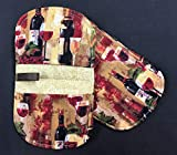 Set of 2 Wine Splendor Glasses and Bottles Oval Shaped Pot Holders Hot Pads 4.5 inches x 8 inches